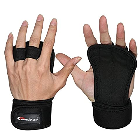 Weight Lifting Gloves Gym Fitness Workout Training Gloves with Wrist Wraps Support for Pull Ups Cross Training WOD - Full Palm Protection & Extra Grip - Suits Men & Women
