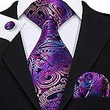 Barry.Wang, set da uomo con fazzoletto da tasca quadrato e gemelli, motivo Paisley Purple Taglia unica