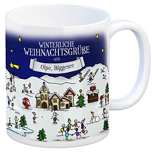 Olpe Biggesee Weihnachten Kaffeebecher mit winterlichen Weihnachtsgrüßen - Tasse, Weihnachtsmarkt, Weihnachten, Rentier, Geschenkidee, Geschenk