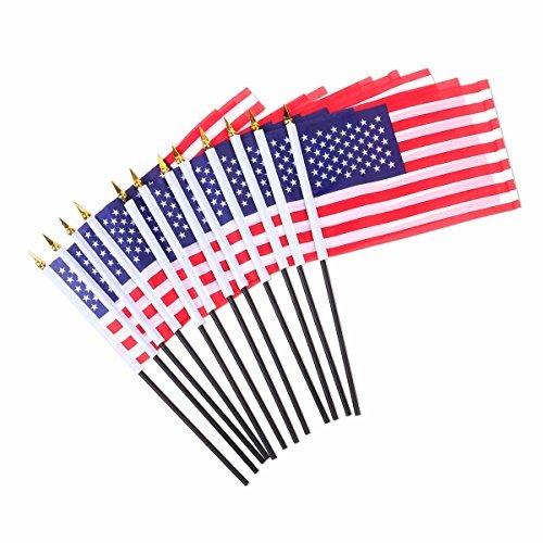 LUOEM 12 Stück 4. Juli Independence Day Waving Flag USA Flaggen für Party Supplies