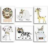 """Juego de 6 impresiones tribales con diseños de animales de la jungla para colgar en la pared de la habitación de los niños (149 x 203mm), 203 x 254mm (8""""x10"""")"""