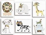 "Set di 6stampe–tribal Jungle Animal Safari nursery Wall Art per camera bambini (149x 203mm (15,2x 20,3cm)), 203 x 254mm (8""x10"")"