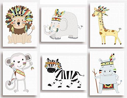 Lot de 6 impressions - Animaux de la jungle, safari pour décoration murale de chambre d'enfant (14,9 cm x 20,3 cm environ), 203 x 254mm (8\\