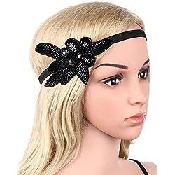 Babeyond Flapper de las mujeres Bandera del cristal del Headpiece Gatsby de los años 20 para las muchachas