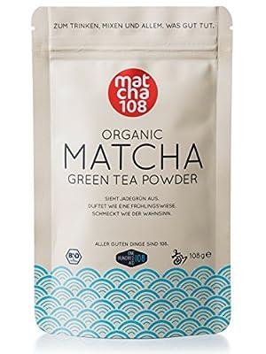 Matcha 108 - Thé matcha de qualité premium/Thé vert issu de l'agriculture biologique contrôlée - 108g de - Ceremonial Grade - Thé vert en poudre 100% bio