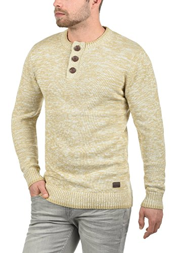 REDEFINED REBEL Mateo Herren Strickpullover Pullover Feinstrick mit Grandad-Ausschnitt aus 100% Baumwolle Meliert Sand