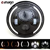 Casago CS7HH1P 7 Inch Round LED Headlight With Halo Angel Eye White DRL Amber Turn Signals Lamp for Jeep Wrangler Harley (70W)
