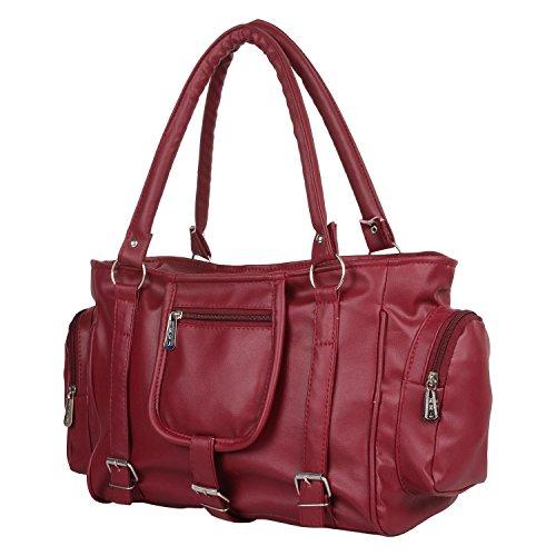 Mango Star Women\'s Maroon Synthetic Leather Handbag