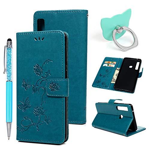 Preisvergleich Produktbild A9 2018 Handyhülle Flip Case für Samsung Galaxy, Idlehour PU Leder Case Cover Magnet Schutzhülle Tasche Skin Ständer Handytasche, Blau Lotus
