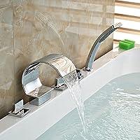 Deck Mount Contemporary diffuso cascata vasca da bagno rubinetto con doccetta estraibile, finitura cromata Clear