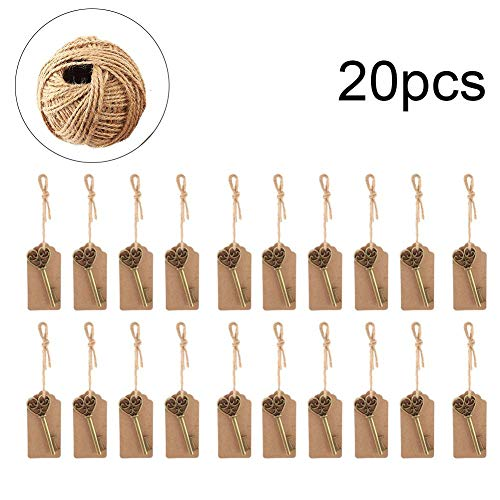 Cafopgrill Neuheit Vintage Bronze Key Shaped Ring Schlüssel Flaschenöffner mit Escort Tag Karte Jute Schnur Hochzeit Festival Dekor