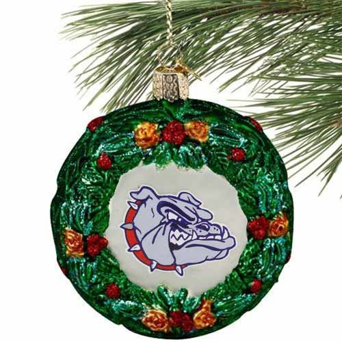 Old World Christmas Gonzaga University Bulldogs Wreath Glass Ornament 63909 New Gonzaga University Bulldogs
