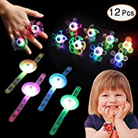 Supchamp Party Light Up Toys, 12 PCS Light Up Bracelets Rings Glow in The Dark, Hand Spin Stress Relief Anxiety Toys Bulk Neon Party Favors for Kids Birthday Celebration
