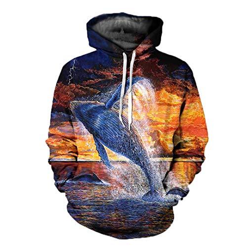 Ocean Elf Dolphin Hoodie Unisex Freiheit Tier 3D Print Hoody Unisex Hip Hop Tops 2 S