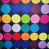 Staab's Beschichtete Baumwolle Dekostoff schwarz mit bunten Kreisen (Meterware, Qualität Zum Nähen) (50 x 140 cm)