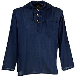 GURU-SHOP, Camisa Nepal, Sudadera Hippie Goa, Azul, Algodón, Tamaño:XL, Camisas de Hombre