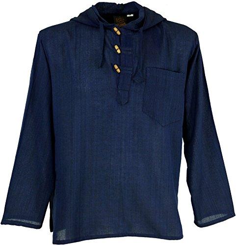 Guru-Shop Hippiehemd, Hemd, Herren, Baumwolle, Männerhemden Alternative Bekleidung Blau