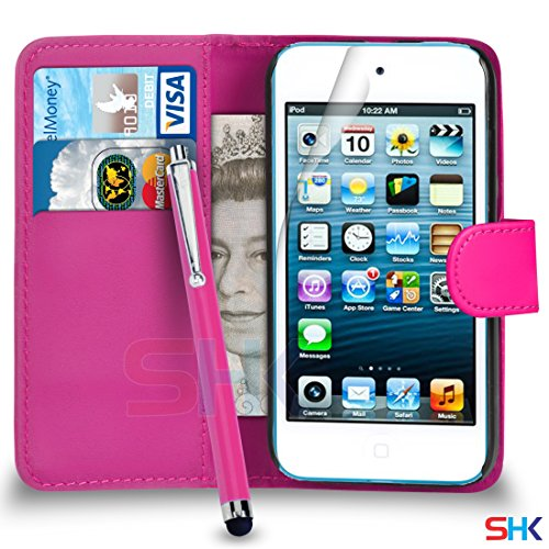 Apple iPod Touch 5 Pink PU-Leder-Mappen-Schlag-Fall-Abdeckungs-Beutel + Big Stylus Pen + Screen Protector & Poliertuch VON SHUKAN (Screen Ipod Big Touch)