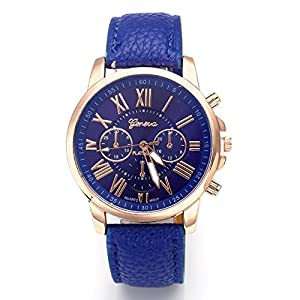 Hot Sale Valentine Gift Women's Geneva Leather Analog Quartz Roman Numerals Watch