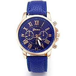 Hot Sale Valentine Gift Women's Geneva Leather Analog Quartz Roman Numerals Watch