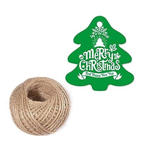 100 St¨¹ck 5.5 CM * 5 CM Weihnachten Geschenkanh?nger Etikett H?ngen Karten¡°Merry Christmas¡±Papieranh?nger mit Jute-Schnur 30 Meter (Gr¨¹n) - Mason Spago