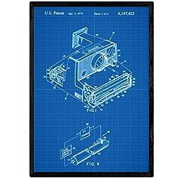 Nacnic Brevet Affiche avec Appareil Photo Polaroid. Fiche avec l'ancien Format A3 de Brevet de Dessin avec Le Fond Bleu