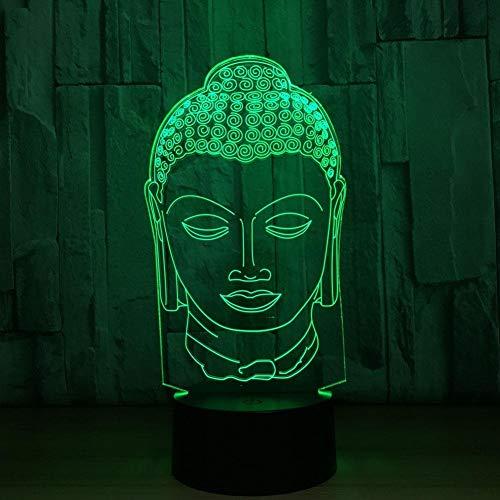 Illusion Optique 3D Bouddha Nuit Lampe 7 Couleurs Changeantes Puissance USB Contact Switch Lampe Décorative LED Lampe de Table Anniversaire Noël Cadeau Enfants Jouets