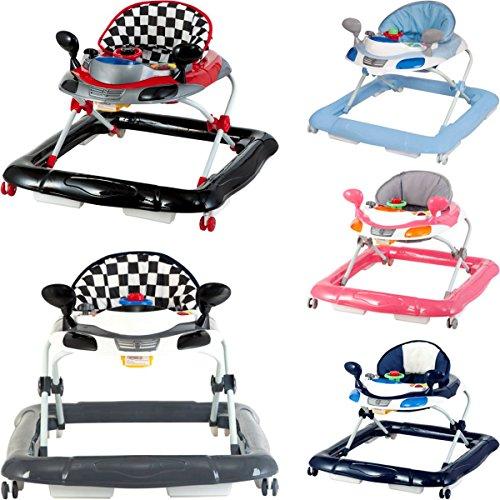 Lauflernhilfe Racer mit Spielcenter (5 Melodien) Gehfrei Gehhilfe Baby Walker in 4 verschiedenen Farben (HELLBLAU / WEIß)