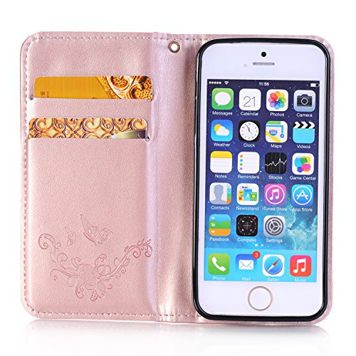 iPhone 5C Case,Wallet Case for iPhone 5C,Heyqie(TM)[Kickstand][Magnetic Closure] Embossing Butterfly Flower PU Leather Wallet Case Flip Cover with Card Holder for Apple iPhone 5C - Gold Rose Gold
