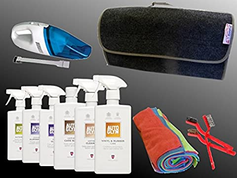XtremeAuto® AUTOGLYM EXPERT LEATHER, CAR INTERIOR/SEAT CLEANING KIT SET, with 12V Vacuum Cleaner: Car, Taxi, Bus. (Leather interior kit #1)