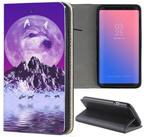 flipcover s5 Samsung Galaxy S5 / S5 Neo Hülle Premium Smart Einseitig Flipcover Hülle Samsung S5 Neo Flip Case Handyhülle Samsung S5 Motiv (1080 Wolf Wölfe Lila Blau)