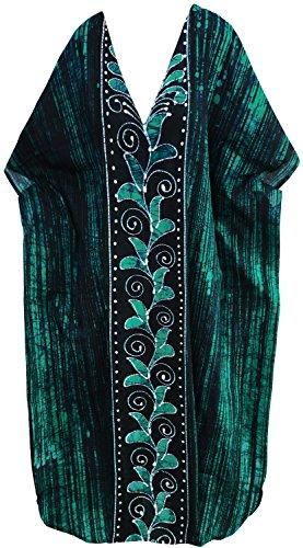 LA LEELA Frauen Damen Baumwolle Kaftan Tunika Batik Kimono freie Größe Lange Maxi Party Kleid für Loungewear Urlaub Nachtwäsche Strand jeden Tag Kleider Grün_D309 -