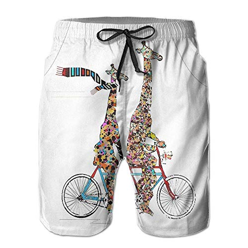 Giraffes Riding A Tandem Bicycle Men\'s Beach Pants Swim Trunks Quick-Dry Board Shorts with Lining