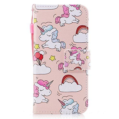 iPhone 6 Hülle,Fodlon® Mode Gemalt Karte Schlitze mit Schlüsselband Telefon Schutzhülle -Weiße Katze Regenbogenpferd