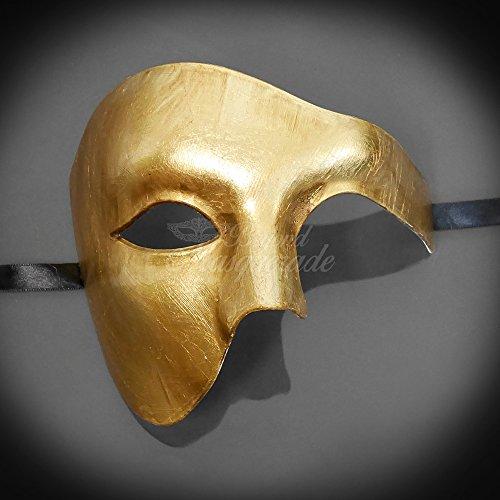 Kostüm Sonne Göttin - Four-Seasonstore Blanko Alle Gold Simple Herren 's Hälfte Maske Mardi Gras Venezianische Maske Halloween Ball Masquerade Maske