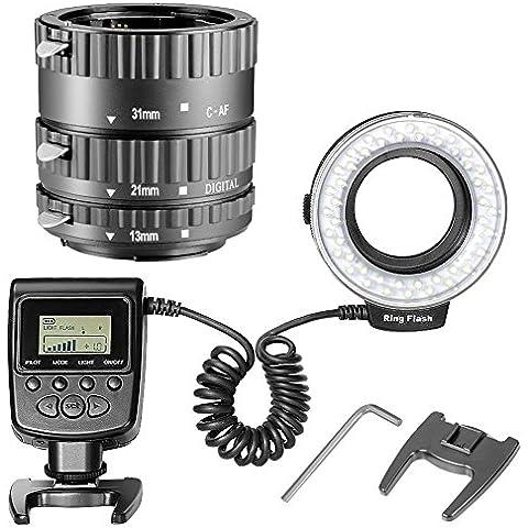 Neewer® FC100 32 Piezas LED Macro Anillo Flash Kit para Canon EOS DSLR SLR Lente, Extremo Primer Plano (Negro), para Canon EOS 1D, 1Ds Mark II, III, IV, 5D Mark II, 7D, 10D, 20D, 30D, 40D, 50D, Digital Rebel xt, xti, xs, xsi, t1i, t2i, t4i, t5i 300D, 350D, 402D, 500D, 550D, 650D, 700D, 1000D Incluye (1) Conjunto de enfoque automático macro tubo de extensión (13 -21-31mm) + (1) FC100 Marco Luz de anillo de LED con 8 anillos de adaptadores para todos Macro Canon / Nikon / Olympus / Pentax Cámaras Réflex