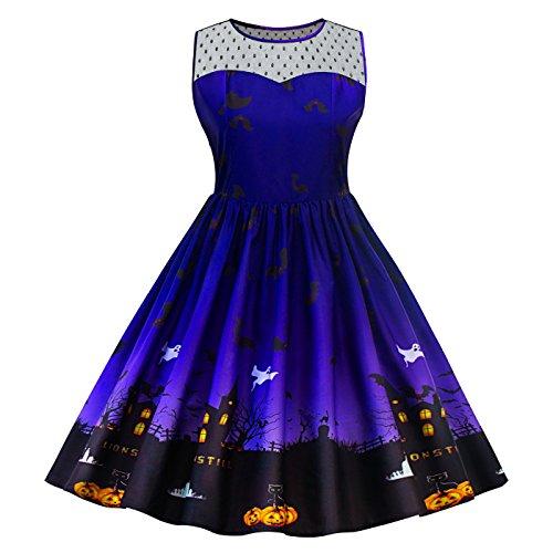 Kostüme Halloween Xl (SIMYJOY Damen Retro A-Linie Ohne Arm Halloween Kürbis Swing Kleider Skater Kleider für Party Cocktail Kostüm und Parade Blau)