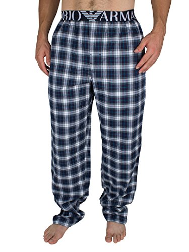 Emporio Armani Herren Logo Karo Pyjama Bottoms, Blau, Medium