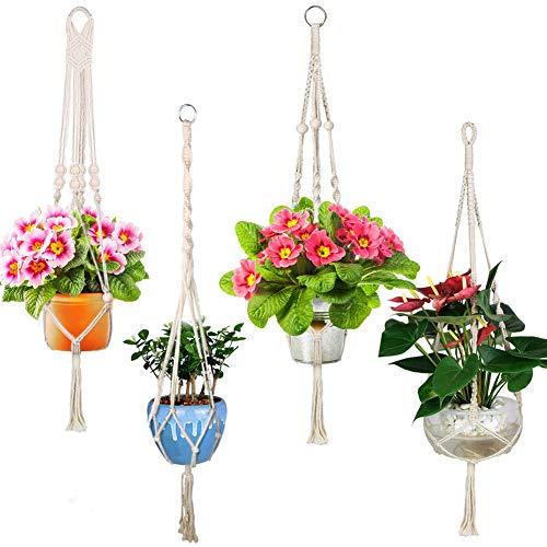 Joylink 4 Stück Blumenampel Hängeampel Blumentopf PflanzenMakramee Pflanzenhalter Makramee Hänger für Innen Außen Decken Balkone Wanddekoration- 41 Zoll, 4 Beine