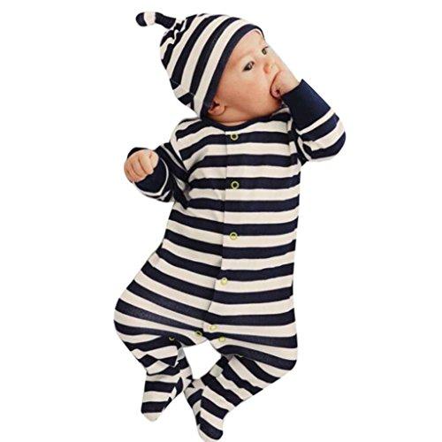 Hirolan Säugling Jumpsuit + Hut Neugeboren Baby Jungen Mädchen Streifen Spielanzug Kleider Outfit (90cm, Marine)