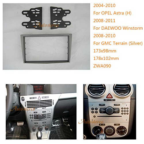 Zwnav Autoradio kit de fixation d'installation Façade d'autoradio pour Opel Astra (H), Antara Corsa (D), Zafira (B), Daewoo Winstorm, GMC Terrain (Argent) de voiture radio stéréo Façade d'autoradio CD adaptateur stéréo