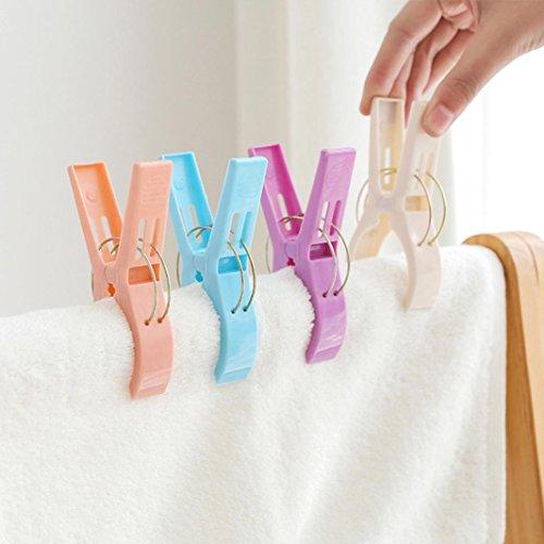 Wokee 4 Stück große helle Farbe Kunststoff Strand Handtuchklammern Clips zu Sunbed Handtuch Quilt...
