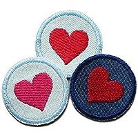 Set 3 Jeansflicken Herz Mini Hosenflicken Patch zum aufbügeln Mädchen