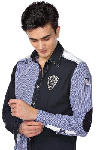 M.Conte Men Shirt Camicia Manica lunga Casual Cotone da Uomo Cosimo Blu