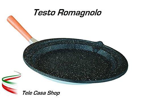 Testo Romagnolo classico in Alluminio con rivestimento antiaderente in Pietra Lavica Ceramicata con manico estraibile (28 Centimetri)