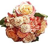 MARRYME Künstliche Seide Georginen Rosen Blumen-Bouquet Kunstblumen Hochzeit Dekor Braut Strauß Orange