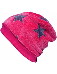 WOLLHUHN Warme Beanie-Mütze pink mit grauen Sternen für Mädchen, Wellnessfleece, 54983907