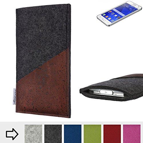 flat.design Handyhülle Evora mit Korktasche für Samsung Galaxy Core 2 - Schutz Case Etui Filz Made in Germany in anthrazit mit Korkstoff braun - passgenaue Handy Tasche für Samsung Galaxy Core 2