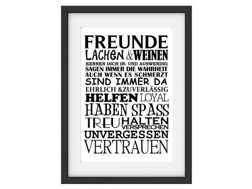 Shabby Druck Kunstdruck FREUNDE Vintage Art Print Bild Büttenpapier Poster Typografie (A4)