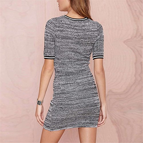 Sexy Womens Grau Short Sleeve Strickwaren Bodycon Slim Wrap Mini Strickkleid XS XXL Grau